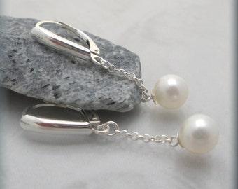 White Pearl Drop Earrings Sterling Silver Freshwater Cultured Pearl Bridal Leverback Dangle Earrings Wedding Jewelry Classic (SE614)