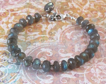 Labradorite Silver Bead Bracelet Spectrolite Gemstone Sterling Silver Bead DJStrang Boho Cottage Chic Color Flash Storm