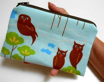 Zipper Pouch Rare Blue Hot Couturier Owls ECO Friendly Padded Coin Purse LIMITED