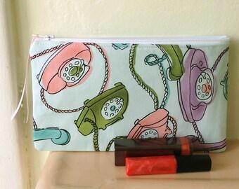 Retro Telephones Zipper Pouch, Cosmetic Case, Pencil Case