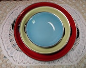 Red, Yellow, Blue Festive Enamel Ware Nesting Bowls