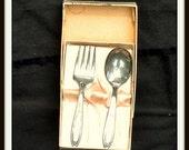 FATHERSDAYSALE Baby Spoon Fork Gift Set, Oneida Tudor, Oneida Silversmiths, Vintage Tableware, Kitchen Deco,
