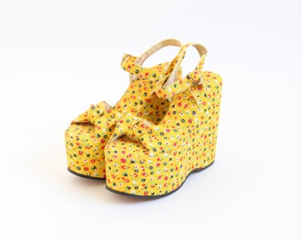Vintage Yellow Floral Platforms