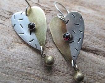Heart Earrings Sterling Brass Mixed Metal garnet Funky stamped Silver LOVE Valentine Drop Dangle Earrings
