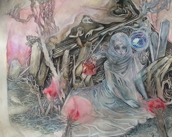 Grey Priestess - Faerie / Magical / Fantasy Art Print