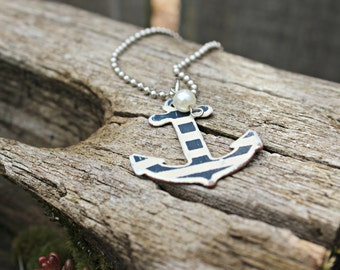 Blue and White Stripe Anchor Necklace with Pearl and 18 Inch Ballchain