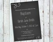 Editable Instant Download Chalkboard Style Invitation; Perfect for First Communion, Baptism, Simple Wedding, Special Birthday, and More