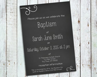 Personalize Chalkboard Style Invitation; Perfect for First Communion, Baptism, Simple Wedding, Special Birthday, and More