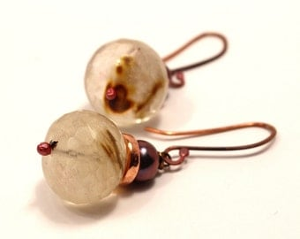 Rock Crystal Quartz Earrings Freshwater Peacock Pearl Big Bold White Rosy Copper Purple Blue Warm Natural Faceted Hand Forged Rustic Hot