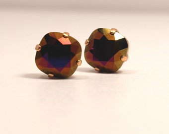 Jet Brandy Crystal Stud Earrings Metallic Classic Sparkling Burgundy Blue Red Warm Copper Solitaire Swarovski 12mm 10mm Sterling Silver Post