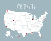 USA Travel Map - DIY Kit With Red Heart Stickers, Unique Wedding Gift, Romantic Travel Gift, US Map With States, Map Poster, 11x14 Map Print