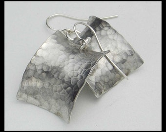 MARILYN - Handforged Hammered & Oxidized Curved Pewter Earrings