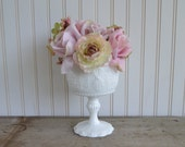 Milk Glass Compote Floral and White
