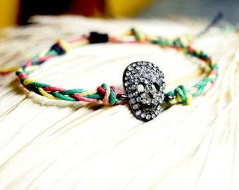 Braided Hemp Bracelet - Day of the Dead Skull Jewelry by The Hemp Butterfly