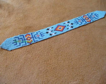 Native American Style loomed bracelet in soft Blue