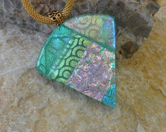 Green Dichroic Fan Shaped Pendant, Statement Piece, Green Glass Pendant, Fan Shaped Pendant, Dichroic Jewelry, Fused Glass Pendant