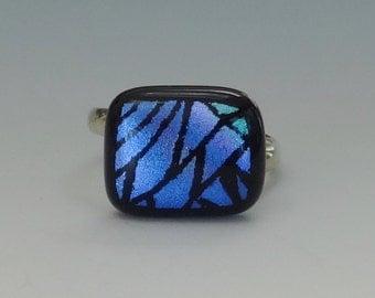 Blue Adjustable Glass Ring, Sterling Silver Band, Dichroic Fused Glass Ring, Dichroic and Sterling Adjustable Ring - Blue Zentangle