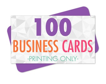 Printed Business Cards, Business Card Printing, 100 Business Cards, Full Color Printing, Matte or Glossy Finish, Eco Friendly, Printing
