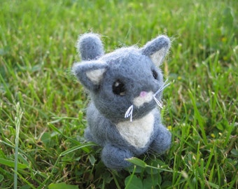 Needle Felted Cat Tibs the Gray and White Kitty Figure