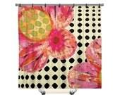Floral Shower Curtain, Shower Curtain, Polka dot shower curtain, Shower curtain art, Flowers, Fabric shower curtain, Pink Shower curtain