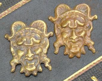 Bacchus or Dionysus..vintage brass stampings of the Greek god..