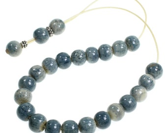 Worry Beads Komboloi ~ Natural Blue Sponge Coral & Sterling Silver