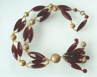 Red Lucite Tassel Necklace Elongated & Gold  BeadsFaceted Retro Fabulous