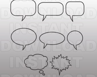 Word Balloon SVG File,Speech Bubble SVG,Dialogue Balloons-Cutting Template-Vector Clip Art for Commercial & Personal Use-Cricut,Silhouette,
