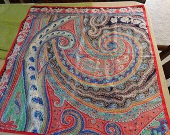Vintage PERRY ELLIS paisley Multicolored Silk Square Scarf