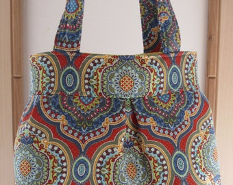French Country, BOHO, Shoulder Pleated Handbag, Purse Ipad Netbook Tote  Made in USA Bohemian