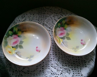 2 Nippon Hand Painted Roses nut candy dishes Gold trim Blue Rising Sun Stamp