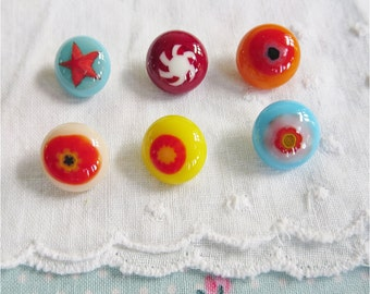 Pretty Fused Glass Buttons - A Jolly Mixture of Colourful Glass Boho Sewing Buttons