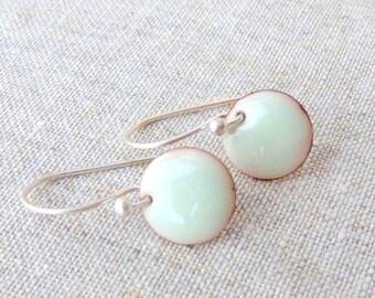 torch fired enamel earrings pastel green-sterling silver-round