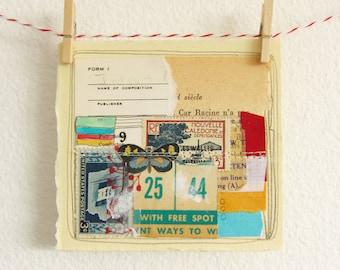 Collage Art - Original Art - Original Collage Art - Mixed Media Art - Mixed Media Collage - Mini Art - Tiny Art - Butterfly 25