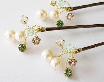 Wedding Hair Accessories,Choice of White or Cream Pearls and Swarovski Elements, Pearl Hair Clips, Green Weddings, Hair Piece