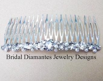 Rhinestone Hair Comb, Bridal Head Piece, Choice of White or Cream Pearl Bridal Hair Comb, Wedding Head Piece, Wedding Hair, Chaton Hair