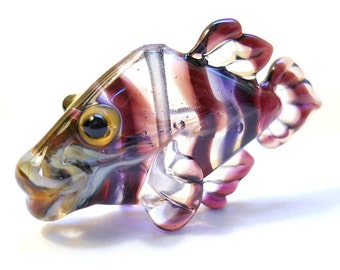 Purple Fish Necklace Lampwork glass bead, striped transparent handmade pendant, Italian glass designer ocean focal bead, SRA art glass, cgge