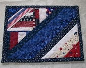 Mug Rug, USA, Patritoic, Red White Blue, Men, Hot Pad, Man Cave, Quiltsy Handmade