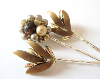 Nostalgic Wedding No.65 - Vintage Jewel Hair Pin Set, Neutral Tone Bridal or Special Occasion Bobby Pins, Set of Three