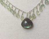 Sterling silver and labradorite and phrenite dangle necklace