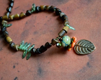 SALE Turtle Spots Long Necklace with Lampwork Glass and Wood Nuggets