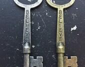 Believe Key Word Industrial Vintage Style Jewelry Findings