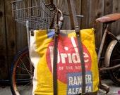 Pride of the North - Minnesota Minneapolis - Large Leather Crossbody Tote - Vintage Seed Flour Feed Sack OOAK Handbag Selina Vaughan Studios