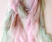 Felted Scarf-Shawl- In Stock Fast Ship - Soft Pastels sheer cashmere-soft wool and silk