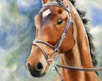 Original Thoroughbred Hunter Warmblood Bay Brown Black horse art watercolor Painting