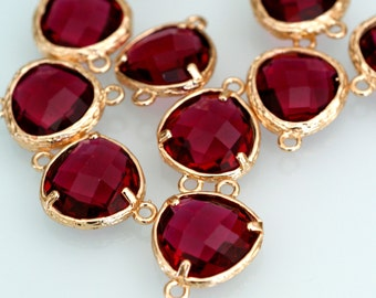 Top Quality 2pcs Ruby Glass Polished Real Gold Plated Brass Links GLAA