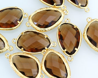 Top Quality 2pcs Brown Glass Polished Real Gold Plated Brass Links GLAA