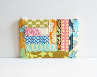 Patchwork Zipper Pouch, Cosmetic Case, Makeup Bag, Women and Teens, Gift For Her, Amy Butler Fabrics