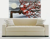 Landscape Original Gray Acrylic Peaceful Fine Art Painting Black Red White Modern Nature Tree Moon Made To Order