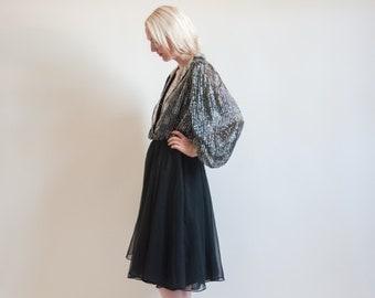 kitty b. black and silver beaded party dress / balloon slv / chiffon skirt dress / s / 1364d
